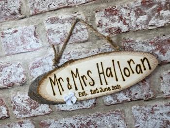 Wedding - Personalised Wood Slice Plaque