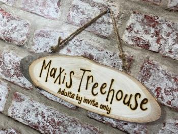 Treehouse - Personalised Wood Slice Plaque