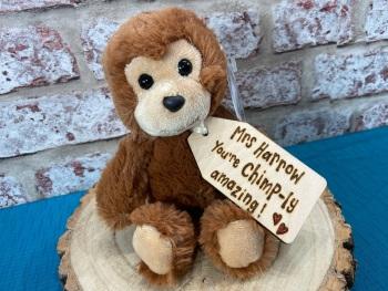 Chimp-ly Amazing Teacher - Monkey Plush With Engraved Tag