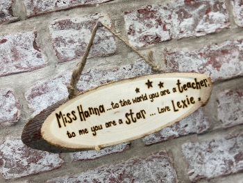 Thank You Teacher  - Personalised Wood Slice Plaque