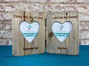First And Last Day Of School - Personalised Double Driftwood Photo Frame