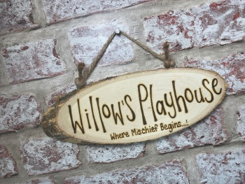 Play area/Playhouse - Personalised Wood Slice Plaque