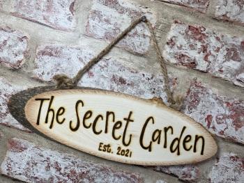 Garden/Decking - Personalised Wood Slice Plaque