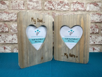 My Dad, My Hero  - Personalised Double Driftwood Photo Frame