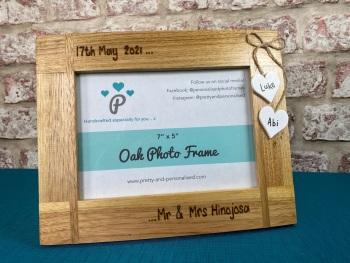 Wedding / Anniversary | Date  / Mr & Mrs  - Personalised Solid Oak Wood Photo Frame