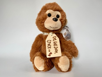 """Get Well Soon  - 12"""" Monkey Plush With Engraved Tag"""