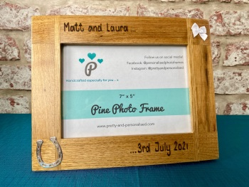 Wedding / Anniversary  - Personalised Solid Oak Wood Photo Frame