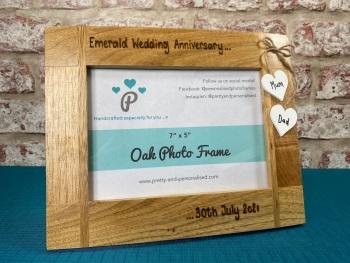 Emerald Wedding Anniversary  - Personalised Solid Oak Wood Photo Frame