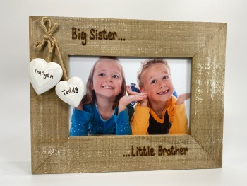 Big Brother Little Sister  - Personalised Driftwood Photo Frame