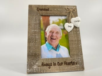Always In My Heart  Dad/Mum/Nan/Grandad - Personalised Driftwood Photo Frame