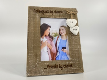 Colleagues By Chance, Friends By Choice - Personalised Driftwood Photo Frame