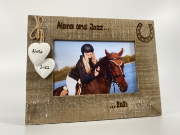 Horse Names / Date - Personalised Driftwood Photo Frame