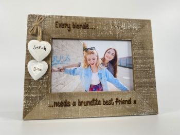 Blonde and Brunette -  Personalised Driftwood Photo Frame