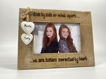 Side By Side Or Miles Apart - Personalised Driftwood Photo Frame