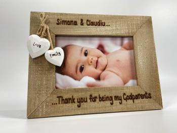 Thank You For Being My Godmother / Godfather / Godparent - Personalised Driftwood Photo Frame