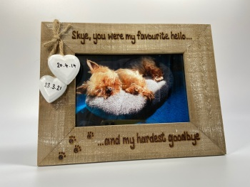 Favourite Hello, Hardest Goodbye | In Memory | Dog, Cat, Horse - Personalised Driftwood Photo Frame