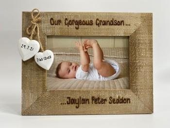New Grandson / Granddaughter -  Personalised Driftwood Photo Frame