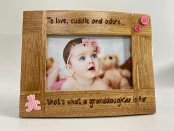 Grandchildren - Love Cuddle And Adore - Personalised Solid Oak Wood Photo Frame