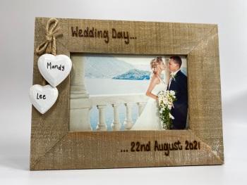 Wedding Day - Personalised Driftwood Photo Frame