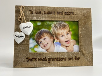 Love Cuddle & Adore - Grandson / Granddaughter Personalised Driftwood Photo Frame