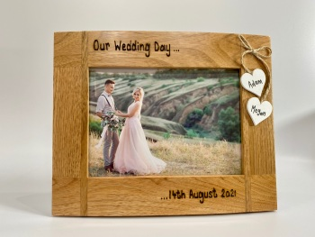 Our Wedding Day / Date - Personalised Solid Oak Wood Photo Frame