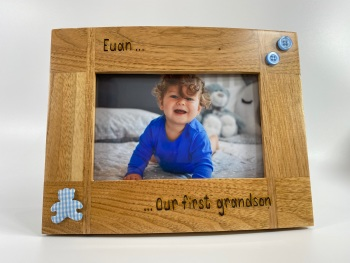 First Grandchild - Personalised Solid Oak Wood Photo Frame