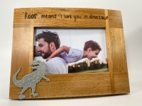 Dinosaur Birthday- Personalised Solid Oak Wood Photo Frame