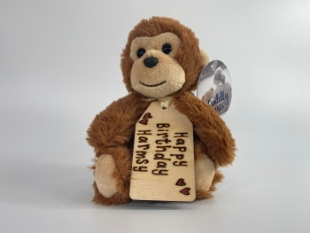 """Design Your Own - 8"""" Monkey Plush  With Engraved Tag"""