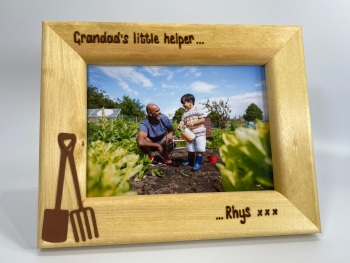 Gardening with Grandad - Personalised Solid Wood Photo Frame