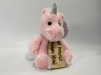 """Design Your Own - 8"""" Pink Unicorn Plush With Engraved Tag"""