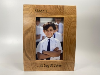First Day At School Photo  - Personalised Solid Oak Wood Photo Frame