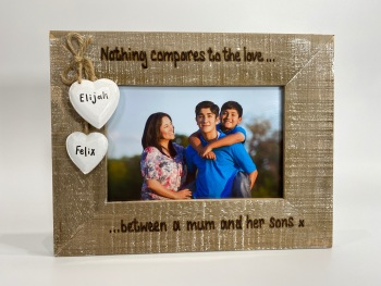 Nothing Compares To The Love Between A Mum And Her Son - Personalised Driftwood Photo Frame