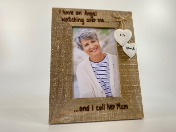 'Angel Watching Over Me' - Personalised Driftwood Photo Frame