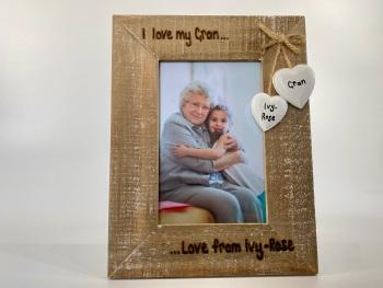 I Love My Nana / Great Nan - Personalised Driftwood Photo Frame