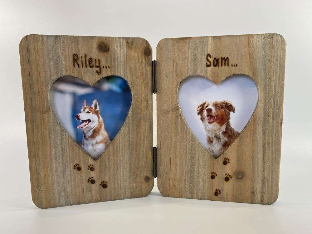 Dog / Cat - Personalised Double Driftwood Photo Frame