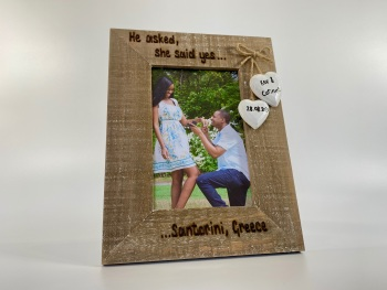 He Asked She Said Yes Engagement - Personalised Driftwood Photo Frame