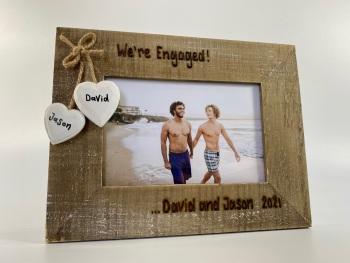 We're Engaged | Gay Lesbian Same Sex Couple Engagement - Personalised Driftwood Photo Frame