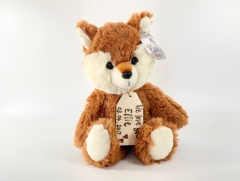 """Design Your Own - 12"""" Fox Plush With Engraved Tag"""