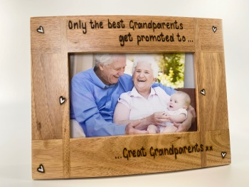 Only The Best Grandparents Get Promoted To Great Grandparents - Personalised Solid Oak Wood Photo Frame