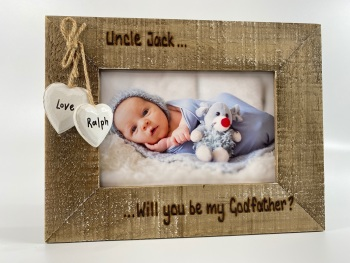 Will You Be My Godmother / Godfather / Godparent - Personalised Driftwood Photo Frame