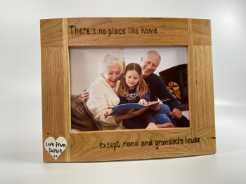 No Place Like Home Except Nana and Grandad's - Personalised Solid Oak Wood Photo Frame