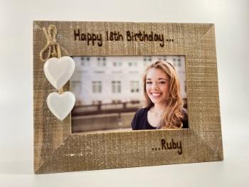 Happy Birthday - Personalised Driftwood Photo Frame