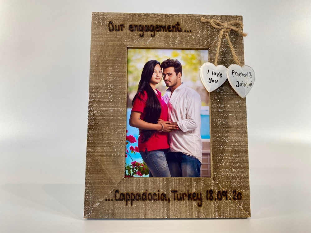 Engagement Memory  | Names / Date & Place | Personalised Driftwood Photo Fr