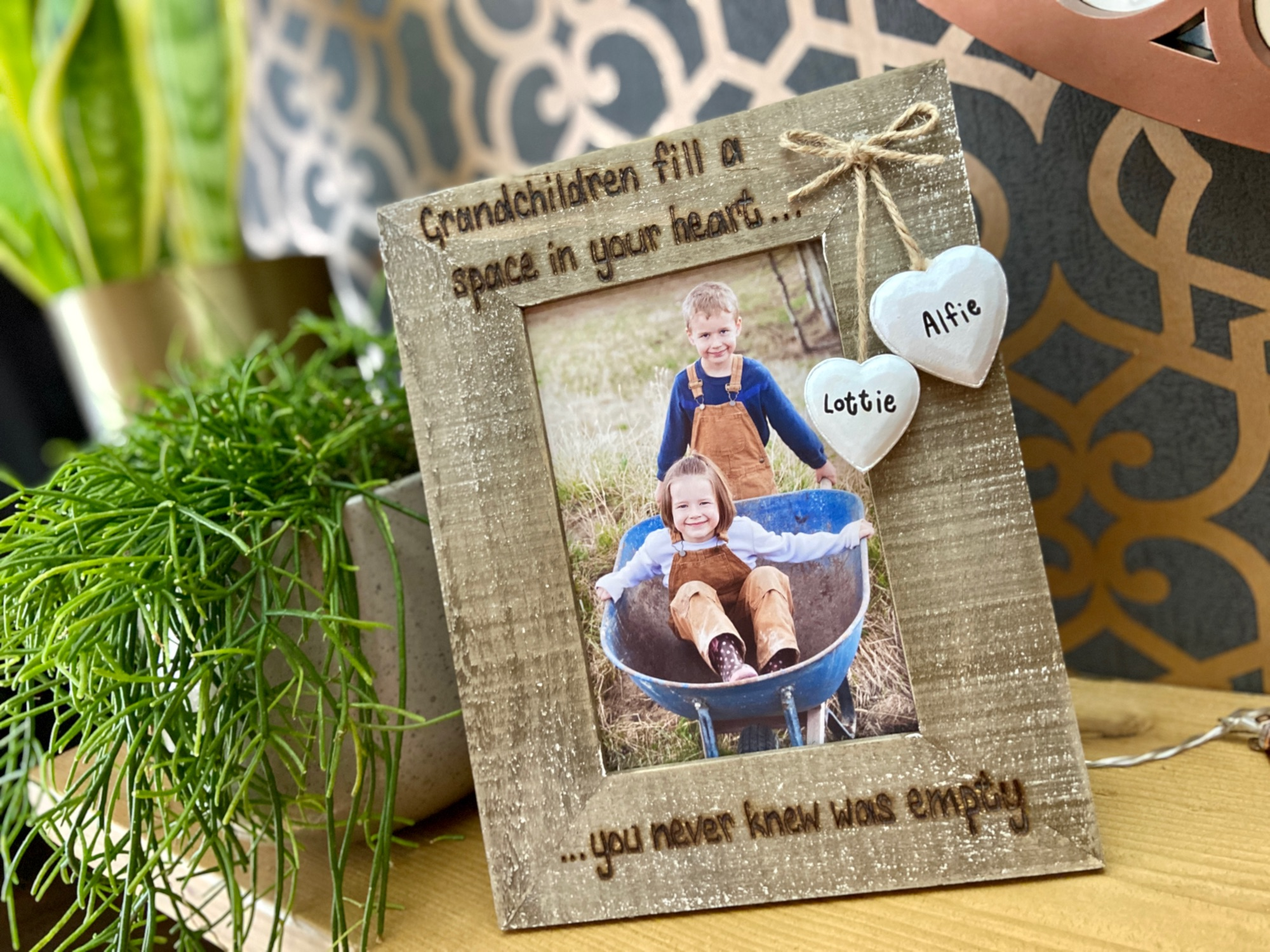 Grandchildren fill a space in your heart  Personalised Photo Frame