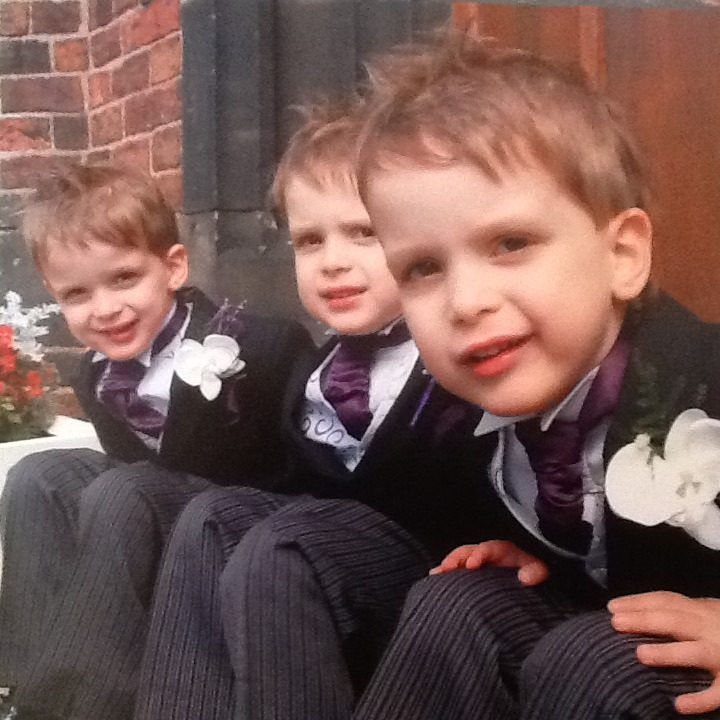 My 4 year old triplets on our wedding day