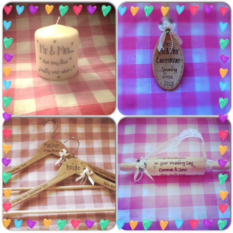 personalised candle spoon coat hangers and rolling pin