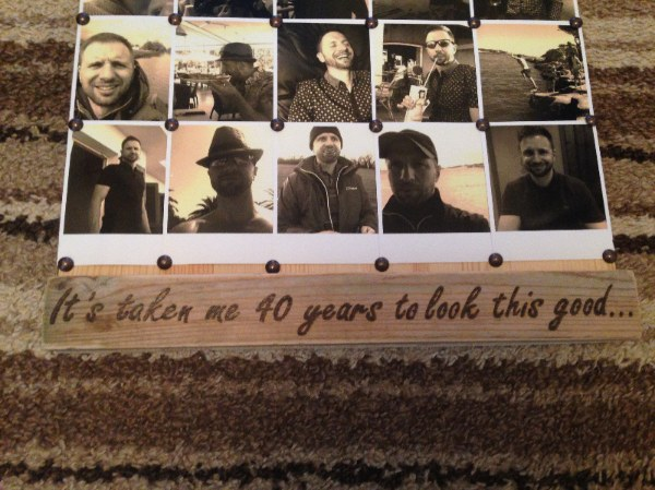 Engraved plaque for photo board
