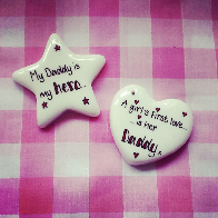Personalised ceramic heart and star