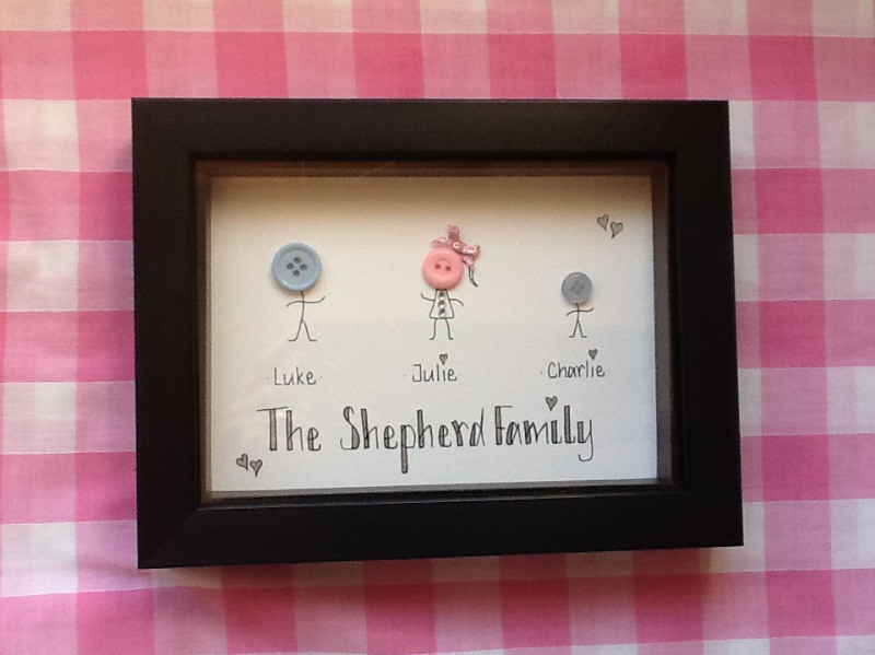 Personalised button head family picture frame