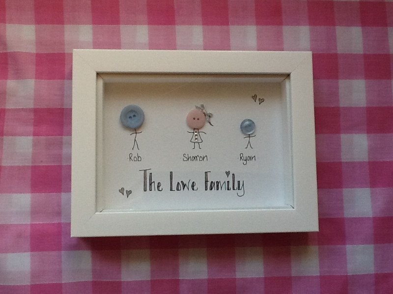 Personalised button head family photo frame in white
